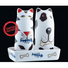 Cilio Kutya-macska porcelán fűszerszóró szett